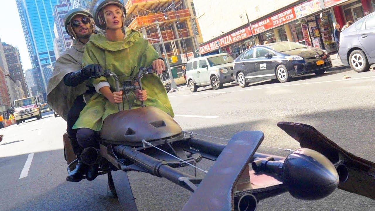 Candid Camera Star Wars : Halloween levitating star wars speeder costume youtube