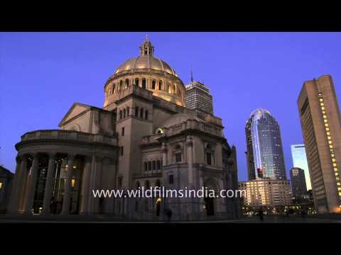 Evening to Night at The First Church of Christ in Boston, USA- Time Lapse