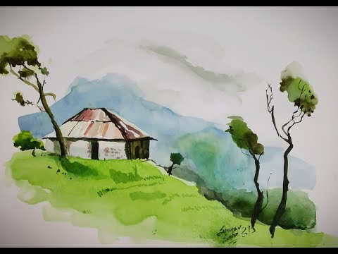 watercolor landscape painting for beginners || composition drawing