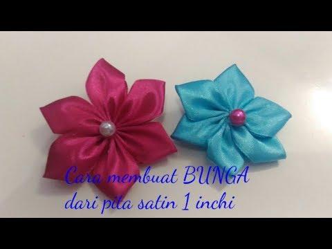SIMPLE....!!!! Cara Membuat Bros Bunga Dari Pita Satin 1 Inchi
