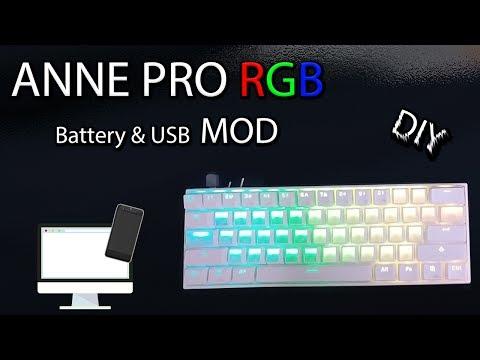 Anne Pro RGB Keyboard - Battery & USB Switches Mod