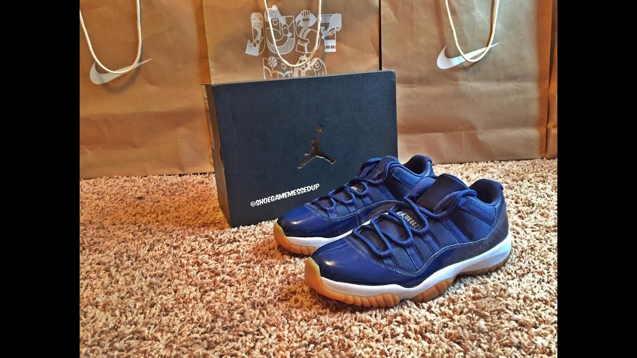 69307068d97 Jordan 11 Low Navy   Gum Bottom (Unboxing)   (Review) (HD) - YouTube