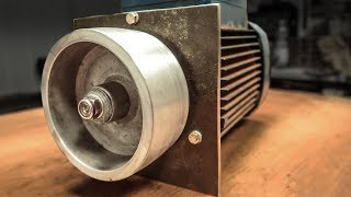 From Broken Pump To Belt Grinder Motor | Making A Drive Wheel WITHOUT Lathe