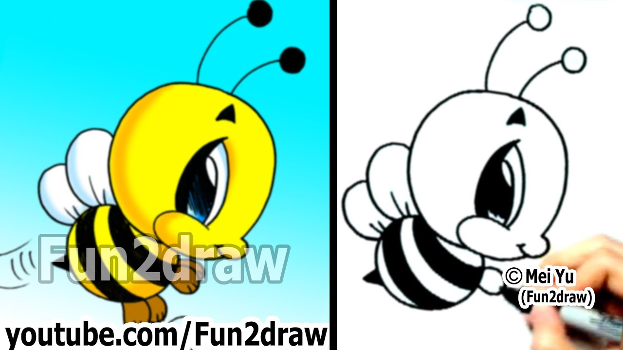 How to Draw Cartoon Characters - Bumble Bee in 2 min ...