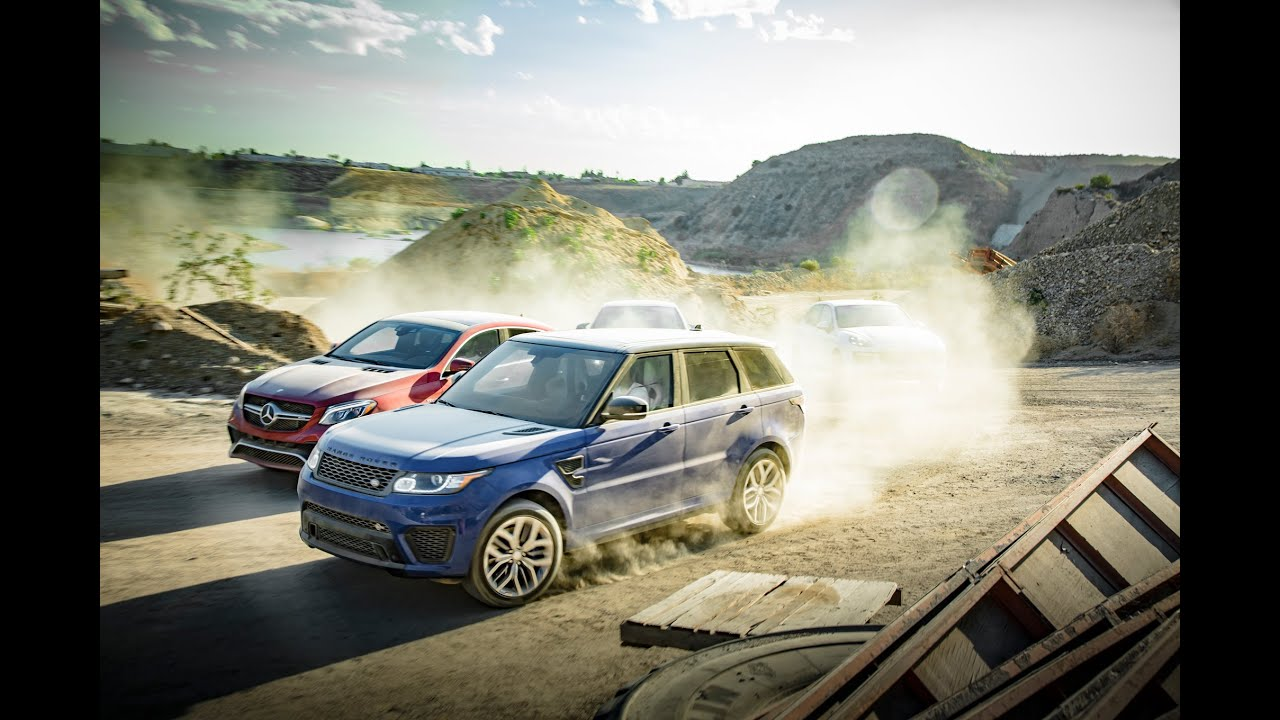 BMW X6M vs Range Rover Sport SVR vs Porsche Cayenne Turbo S vs