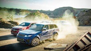 BMW X6M vs Range Rover Sport SVR vs Porsche Cayenne Turbo S vs Mercedes AMG GLE63 S Coupe