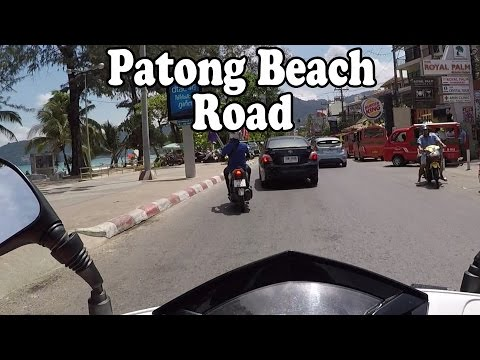 Patong Beach Road, Phuket Thailand on a motor scooter. May 2015. Phuket, Thailand