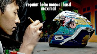 Repaint helm INK CL MAX jadi SHOEI MOTEGI 2020 MARQUES HELMET ; MANUAL PAINTING