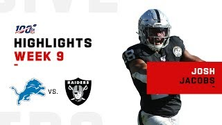 Josh Jacobs Raids Lions Defense for 120 Yds & 2 TDs | NFL 2019 Highlights
