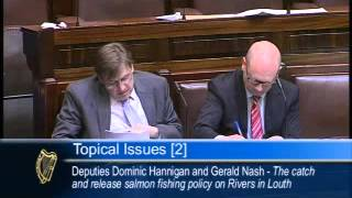 Deputies Hannigan and Nash speaking on the catch and release policy in rivers in Louth and Meath