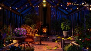 NIGHT GREENHOUSE AMBIENCE: Plant Watering Sounds, Night Nature Sounds, Pages Turning, Crackling Fire