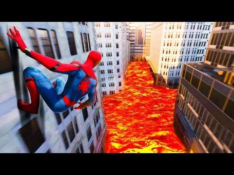 The FLOOR IS LAVA Challenge in Spiderman PS4