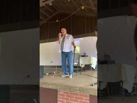 Larry Daly ,  doing the Groveton High School Cheer on Oct 13, 2019