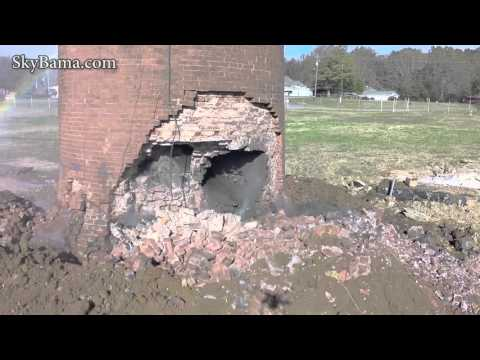 Pell City 1st attempt to implode the historic Avondale Mills smokestack - Drone view