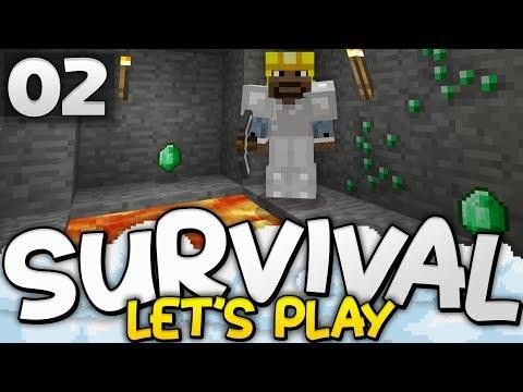 EMERALDS ALREADY?!?  Survival Lets Play Ep 02  Minecraft Bedrock PE W10 XB1