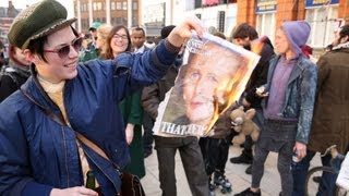 Repeat youtube video MARGARET THATCHER DEAD!! Brixton Celebrates Party - Ghost Town