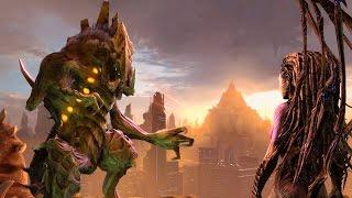 Dehaka and Kerrigan Destroy Anti-Zerg Psi Generator on Korhal (Starcraft 2: Heart of the Swarm)