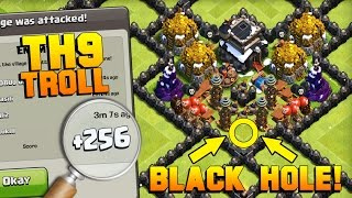 Clash Of Clans  Best Th9 Black Hole Troll Base In 2017  Funny Lower League Noob Trolling!! Coc