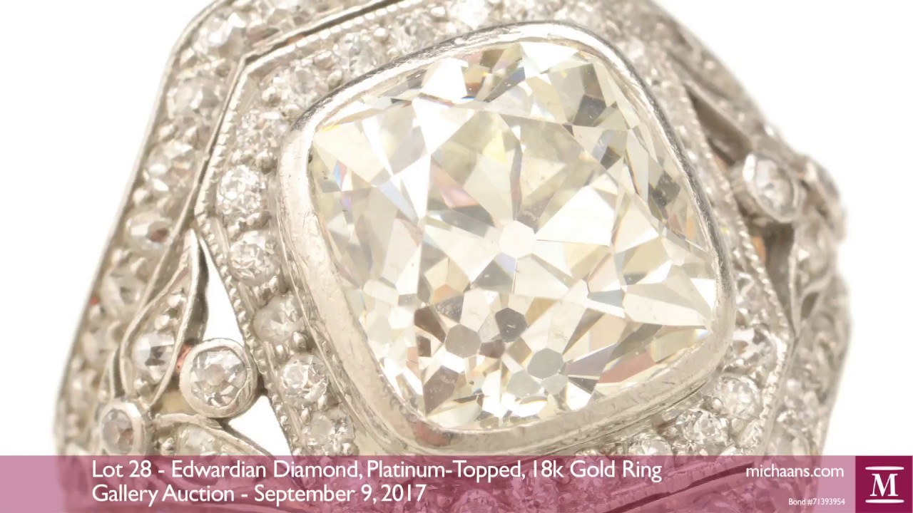 aed4fba28 Video for Edwardian Diamond, Platinum-Topped, 18k Gold Ring | Michaan's  Auctions