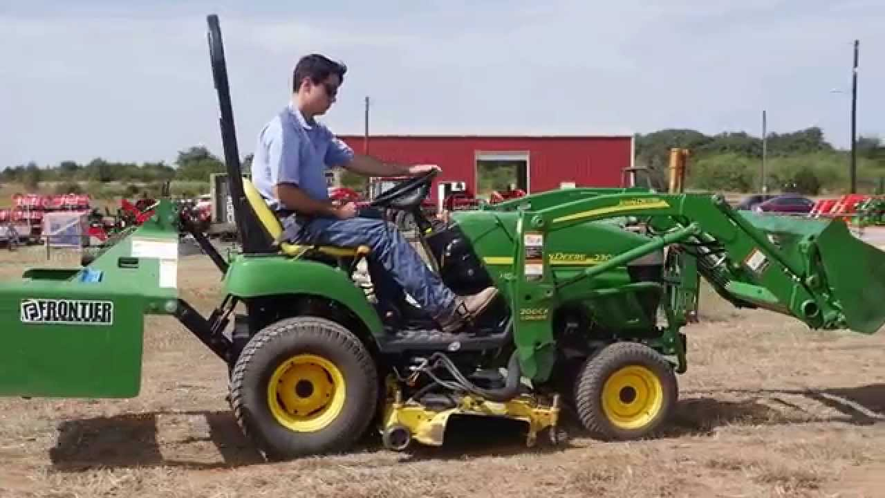 John Deere 2305 tractor with loader and belly mower demo HD video - YouTube