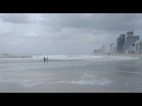 Tel Aviv, Israel - Surf Club And Windy Water On Jerusalem Beach