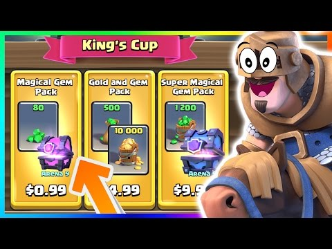 FREE SUPER MAGICAL CHEST?! | BUYING ALL KINGS CUP GEM PACKS In Clash Royale!