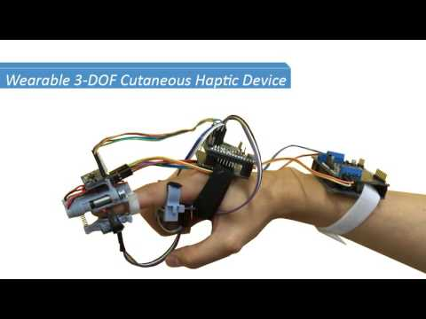 Wearable 3-DOF Cutaneous Haptic Device with Integrated IMU-Based Finger Tracking