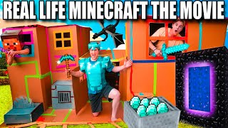 Real Life MINECRAFT The MOVIE  Minecraft Box Fort Part 1