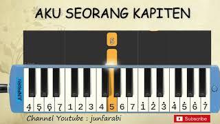 not pianika aku seorang kapiten - tutorial belajar pianika lagu anak - not angka