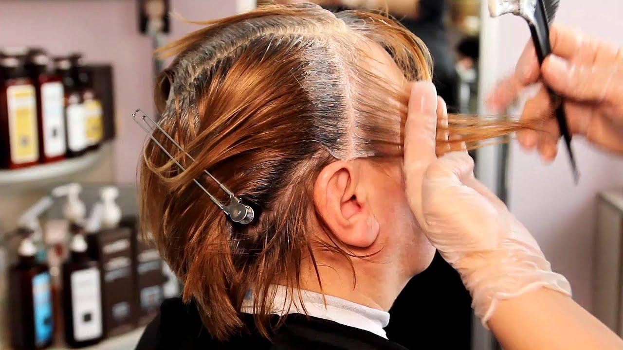 Омбре темные корни седые волосы