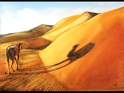 Watercolor Sahara Desert Painting Demonstration