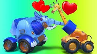 AnimaCars - DIA DE SAN VALENTIN con los ANIMACARS - dibujos para niños con camiones & animales