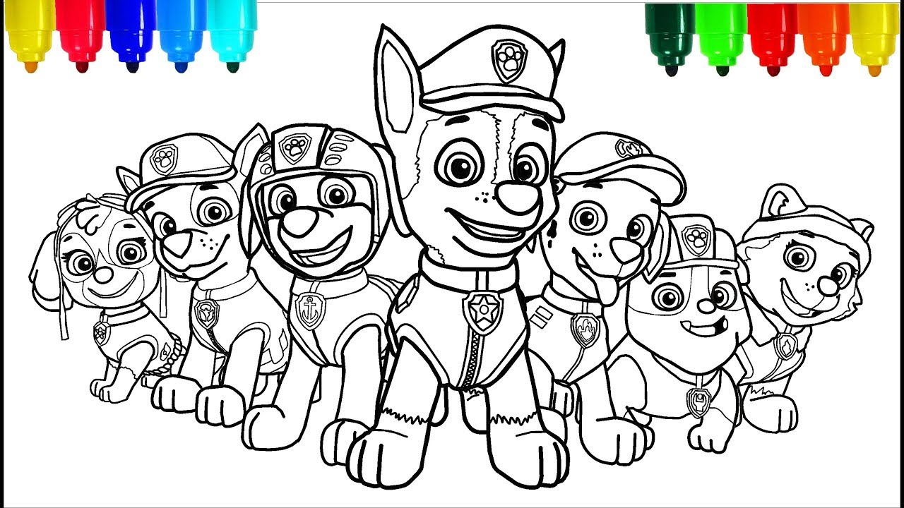 PAW PATROL # 5 Coloring Pages  Colouring Pages for Kids with Colored  Markers