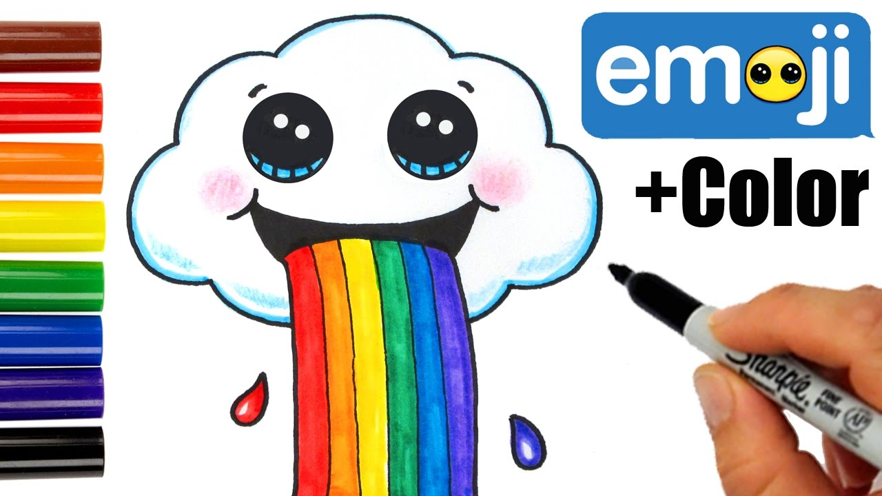 How To Draw A Cloud Puking Rainbow Cute And Easy Youtube