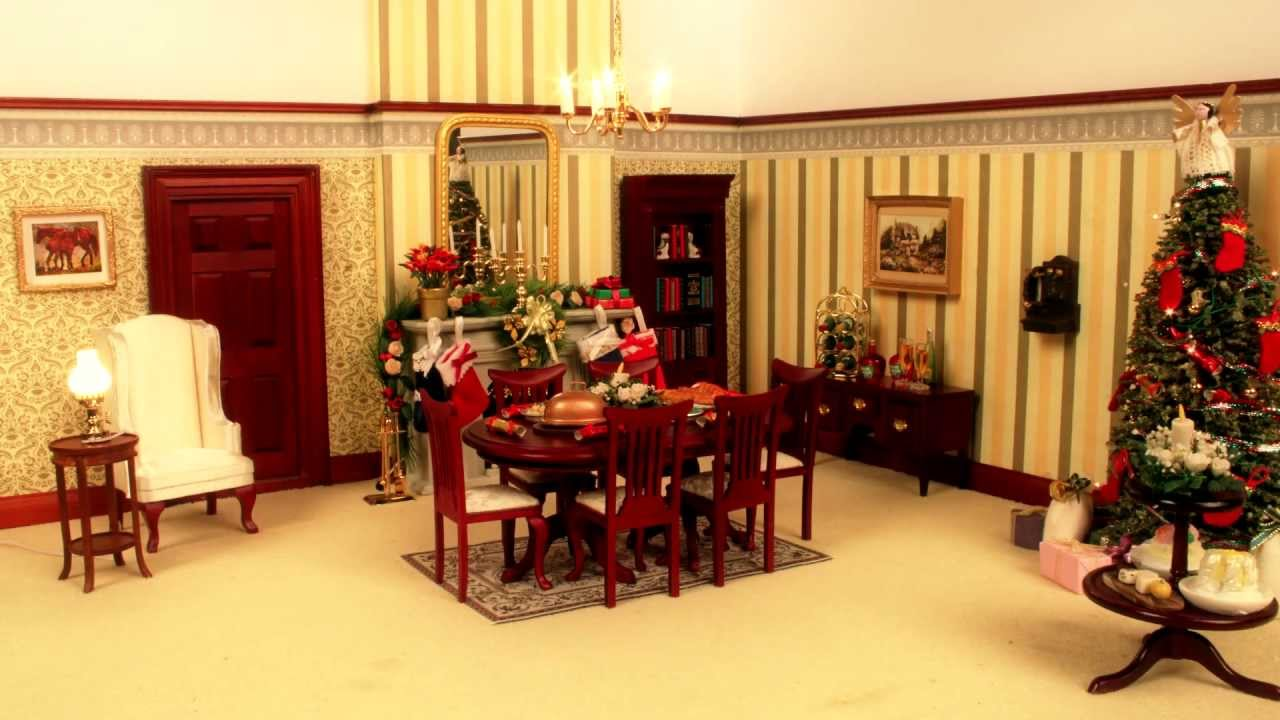 watch this dolls house decorate itself for christmas youtube - Dollhouse Christmas Decorations