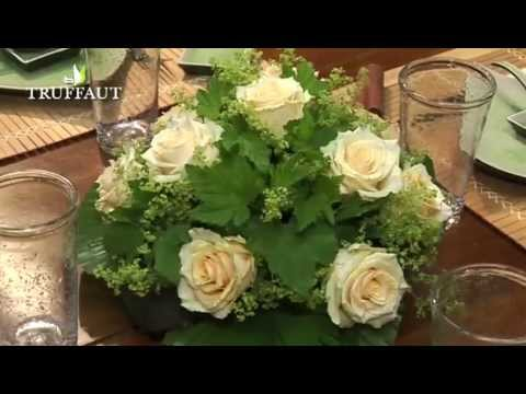 Art floral un centre de table rond jardinerie truffaut - Petit centre de table floral ...