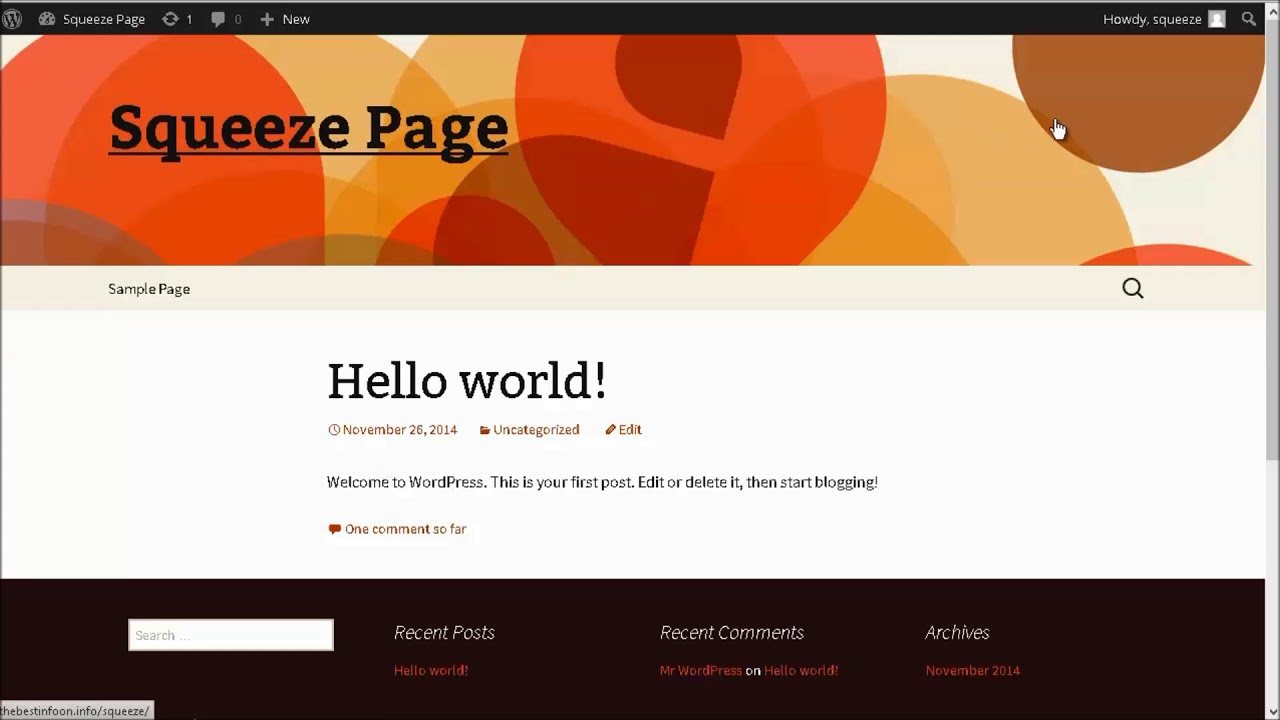 How to make Squeeze Page WP with free theme without plugin