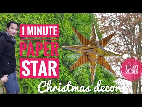 DIY 1 minute 3D paper star for Christmas decoration / easy and elegant