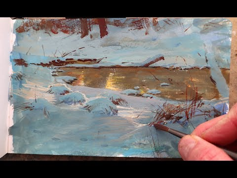 Painting a Winter Pond in Gouache