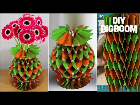 How to make Flower Vase with Paper | DIY Simple Paper Craft | DBB