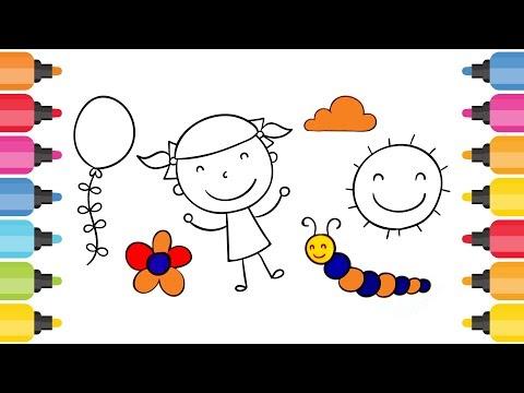 Cocuk Balon Cicek Tirtil Bulut Gunes Boyama Oyunu Youtube