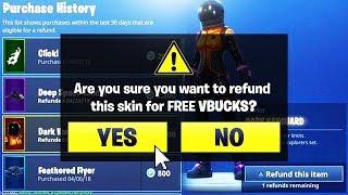 *NEW* How To REFUND any SKIN for FREE VBucks! (Fortnite Refund System)