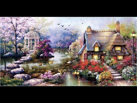 Вышивка крестом садовый домик