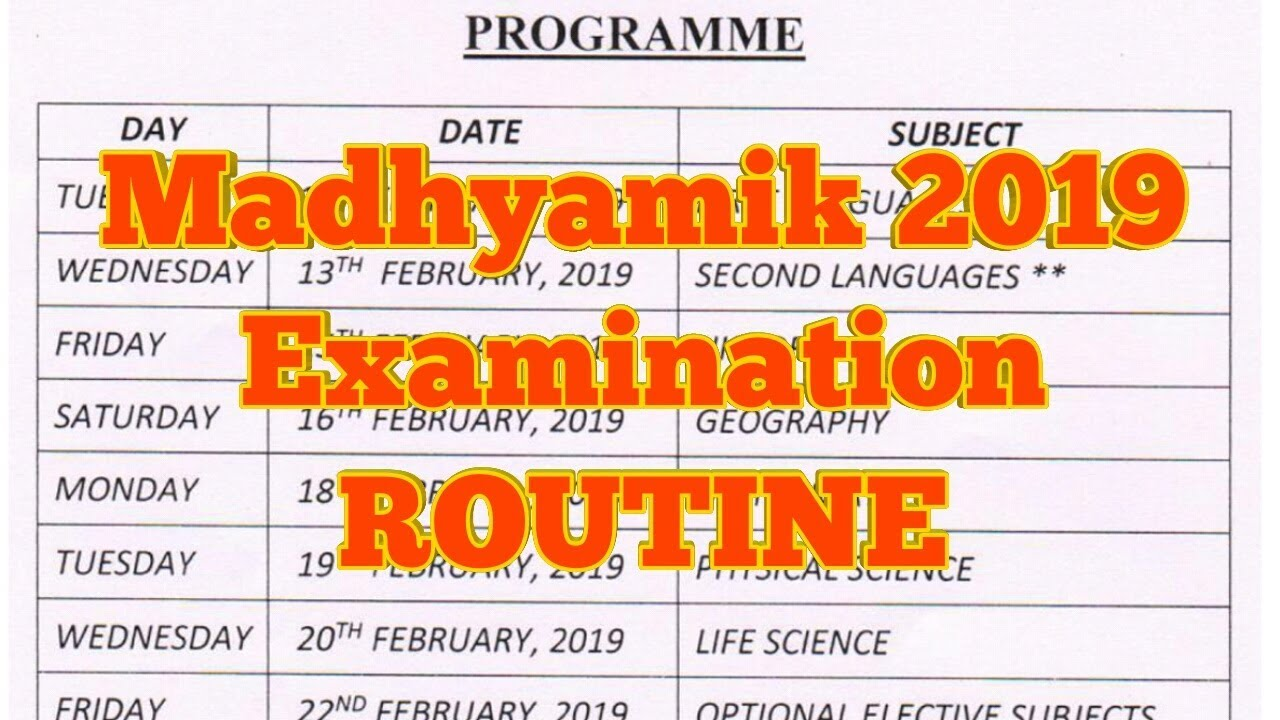 Image result for exam routine 2019