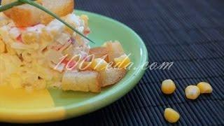 Рецепт салата с сухариками и крабовыми палочками
