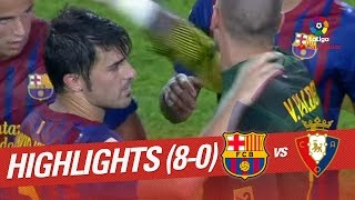 Goals galore in camp nou. lionel messi, david villa and cesc fabregas hadn't mercy with rojillos fc barcelona vs osasuna (8-0) j04 laliga 2011/2012 subscr...