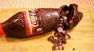 コカコーラ型のチョコレート!?作ってみた/Chocolate Coca Cola Bottle Shape Surprise!!& POCARISWEAT plastic bottle/ポカリもあるよ