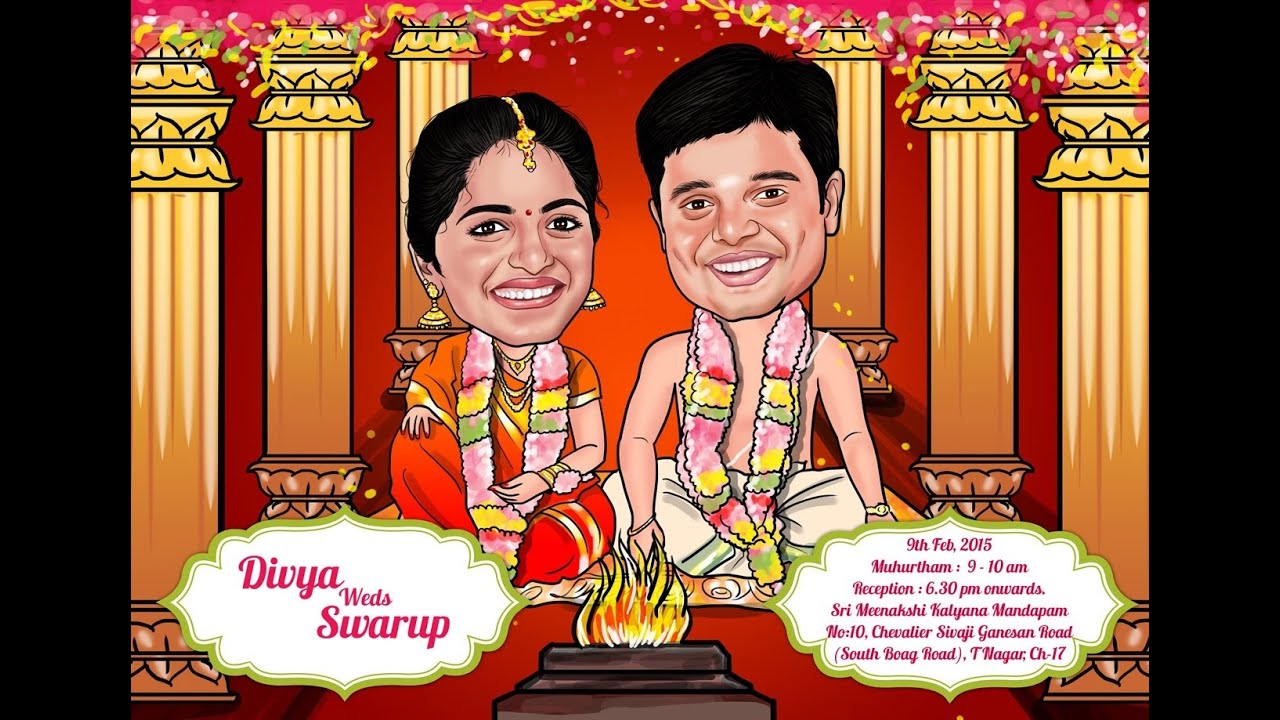 Wedding caricatures by Elo - YouTube