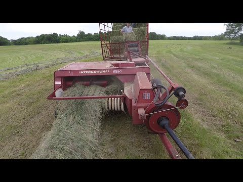 Small Square Baling Grass Hay With An International Square Baler