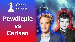 Amazing Chess: Pewdiepie vs Carlsen - Pewdiepie nearly beats World's Best Chess Player!